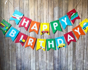 Transportation Birthday Banner - First, Party, Cars, Trucks, Airplane, Boat, Trains, Garbage Truck, School Bus, Plane, Party Supplies