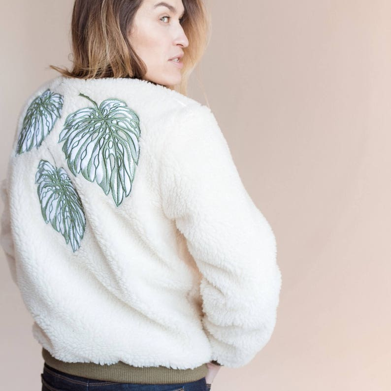 fe856230c8 Wool (ECO) bomber jacket with monstera embroidery. Women's white faux fur  bomber with print. Eco Fur jacket. Woolen bombe