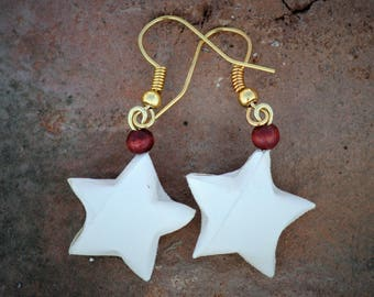 Paper stars earrings, books stars, recycled books jewelry, book pages as Star jewelry