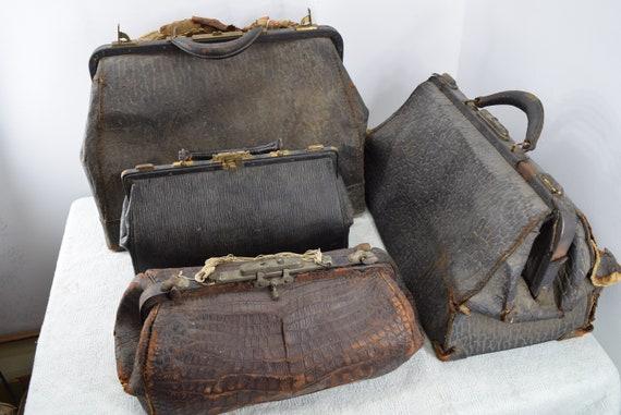 Lot of four (4) antique vintage leather doctor bag