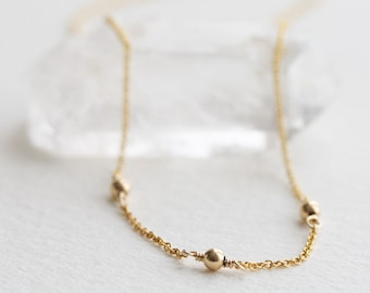 7ce1ed835dd4c9 Minimal gold necklace, Gold ball necklace, Dainty gold bead necklace,  Layering necklace, Simple 14k gold filled jewelry, Gift for her