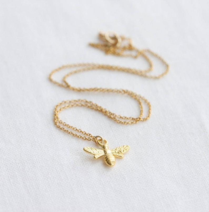 84928eba14e8c2 Gold bee necklace tiny bee pendant bumblebee necklace gold | Etsy