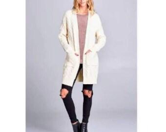 Cream Cardigan Sweater Large Front Pockets Vintage 1970 s Retro 1990 s  Grunge Kurt Cobain inspired Small 7edd9454c