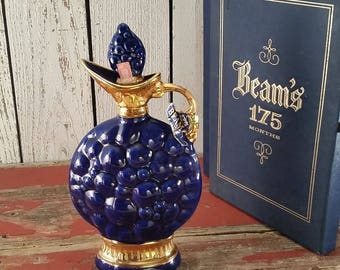 Jim Beam Collector's Bottle with Box -  1963 - Blue with Gold - Beam's 175 Months - Genuine Regal China Decanter