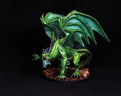 Dragon Miniature, Green Dragon, Large Dragon, Painted DnD, Dungeons and Dragons, Pathfinder, Fantasy RPG, Tabletop Roleplaying Miniature