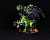 DnD Miniature, Green Dragon, Large Dragon, Painted Dragon, Dungeons and Dragons, Pathfinder, Fantasy RPG, Tabletop Roleplaying Miniature