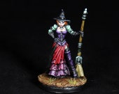 Reaper Miniature, Female Witch, Steampunk Witch, Witch Miniature, Hand Pro Painted, Female Sorceress, Dita, RPG, DnD miniature, Pathfinder