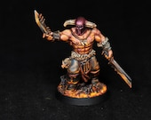 Bloodreaver Miniature, AOS Chaos, Khorne Demon, DnD Warrior, Barbarian Miniature,Warhammer Mini, Fire, Painted Miniature, DnD miniature, D&D
