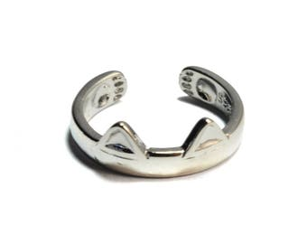 100%【Sterling Silver】cute adjustable cat ear ring with paw prints details, kitty ring,stacking ring,unique hand carved gifts, silver jewelry