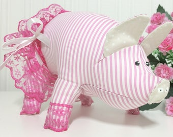 Stuffed pig plush Cute gift for little girl Room Decor Plush pink piglet Child friendly stuffed toy