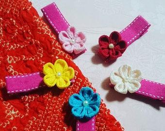 "Handmade Japanese Traditional ""Tsumamizaiku"" Flower Hair clip (for baby, toddler, kimono)"