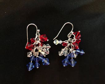 Genuine Swarovski crystal cluster earrings red white and blue