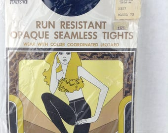 Vintage Montgomery Ward Tights Opaque seamless run resistant Navy blue New old stock Average