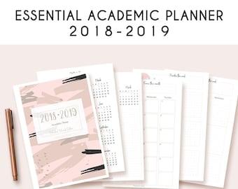 Printable academic calendar 2018-2019 by PapeterieStudio | Basic Academic Planner Printable | College planner | Academic calendar | dated