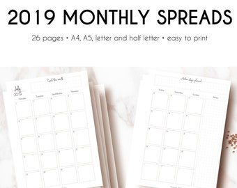 Printable MONTHLY SPREADS for 2019 | Dated Monthly Calendar Printable | 12 Month Overview | English