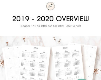 Printable ANNUAL OVERVIEW for 2019-2020 | Dated Annual Calendar Printable | English
