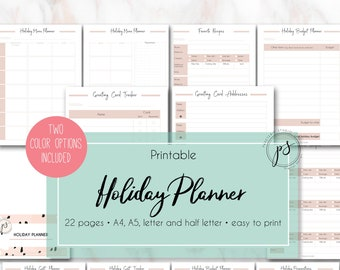 Printable HOLIDAY PLANNER | Christmas Planner | Holiday organization | Thanksgiving | Xmas | Baptism | English | A4, A5, letter, half letter