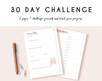 30 day challenge, printable, planner add-on, challenge tracker, 30 day goal, monthly challenge, printable planner add-on, fitness, cleaning
