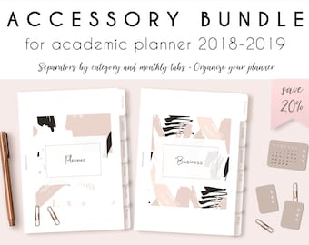 Accessories bundle with 12 separators and monthly tabs for academic planners, printable, dividers with 12 categories,  tabs for each month