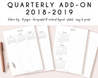 Printable quarterly planner 2018-2019 by PapeterieStudio | Quarterly add-on for your academic calendar | Future log for bullet journaling