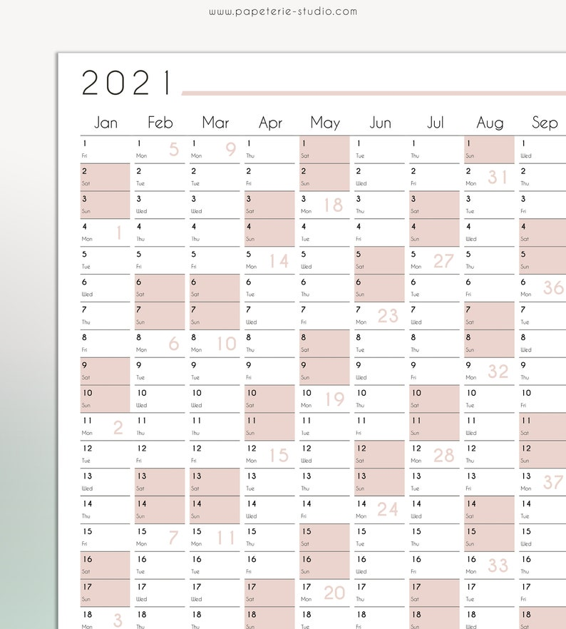 2021 YEARLY WALL CALENDAR printable Wall Planner 2021 | Etsy