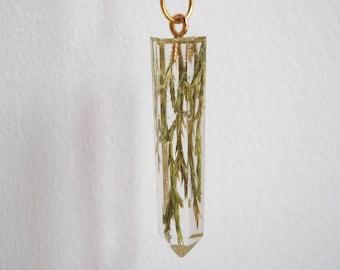 fir tree needles in crystal pendant