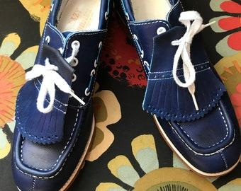 efbbd11f201 Vintage lederen marine blauwe golfschoenen omgezet in straat schoenen