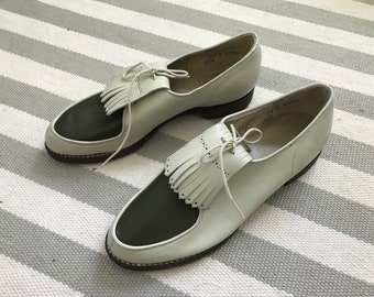 eb081f54591c Women s vintage white and Green Golf shoes restored into Oxfords