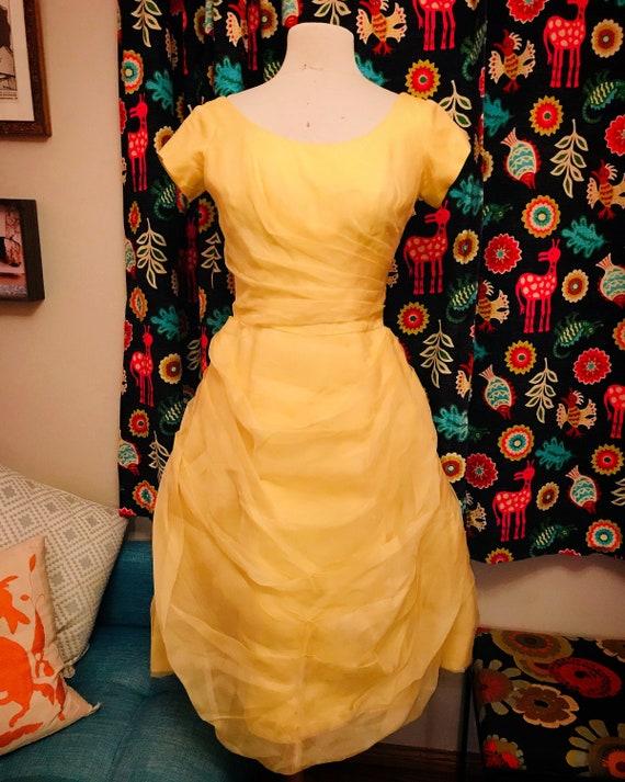 Vintage fairytale-like draped yellow dress