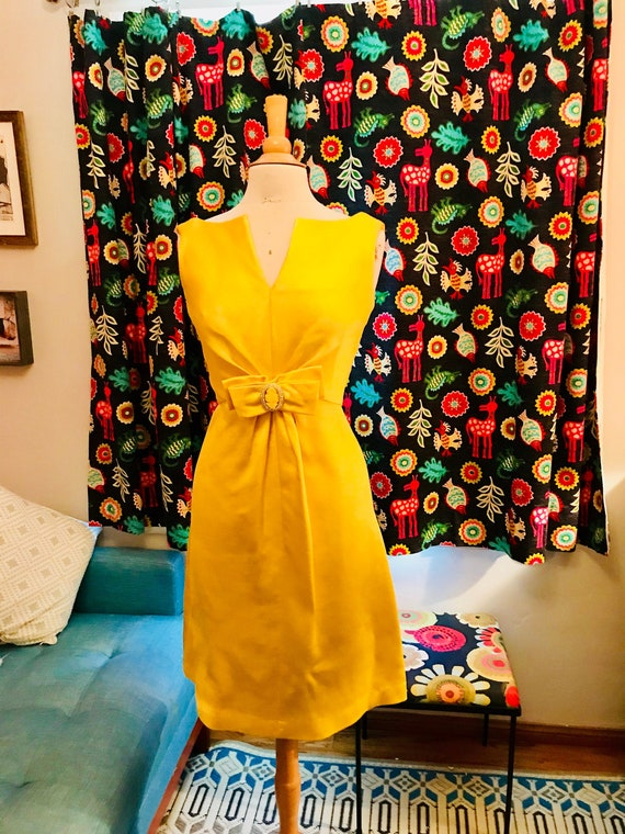 Vintage Canary Yellow Cocktail Dress with Rhinestone Belt