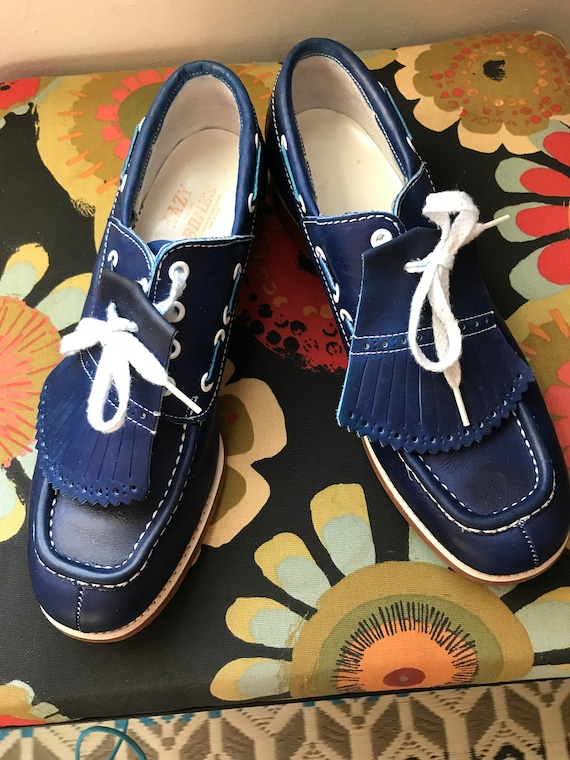 Vintage leather marine blue golf shoes converted i