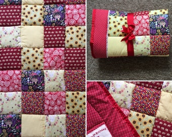 Beautiful Red Handmade Personalised Patchwork Quilt