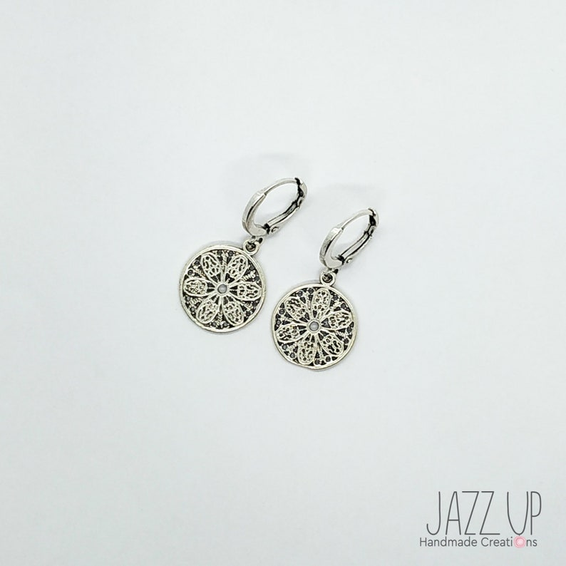 Coin Earrings Minimal  Flower Earrings Mini Hoops Leverback Earrings with Flower Coin Charms
