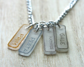 Hunger Games Character Names Necklace: Katniss, Prim, Gale, Peeta Dog Tags Charms