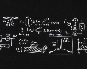 Engineer Drawings Black Long Sleeve T-Shirt (Men's Size Medium)