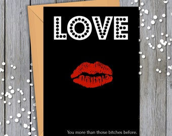 I Love You More - Love - Black White Red - Romance - Printable, Greeting Card, Digital Download, Occasion