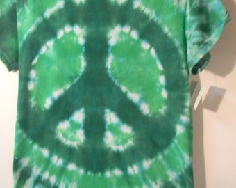 Adult Peace Sign Tie Dye 100% Cotton Shirt Sleeve T-shirt