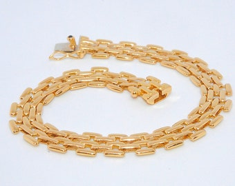 18K Gold - Beautiful Bracelet / curb chain mesh rice gold yellow 18 k - 750/1000