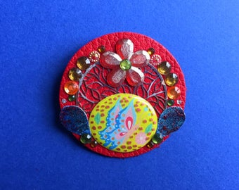 Red leather with Rhinestone flower brooch