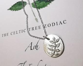 REED LEAF pendant necklace Celtic tree astrology