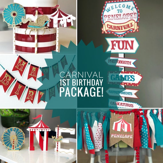 Carnival Party Package Circus First Birthday Package The