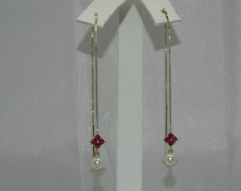 14K Ruby and Pearl Earring .Ruby 0.32ct Pearl 4mm