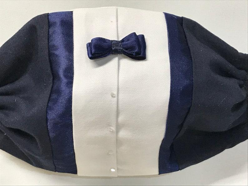 Groom Mask Blue Wedding Mask Blue Tuxedo Face Mask 3 image 0