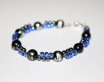 blue and black beaded bracelet with glass beads