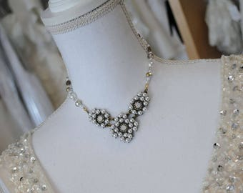 Golden Vintage Style Ivory Pearl Necklace