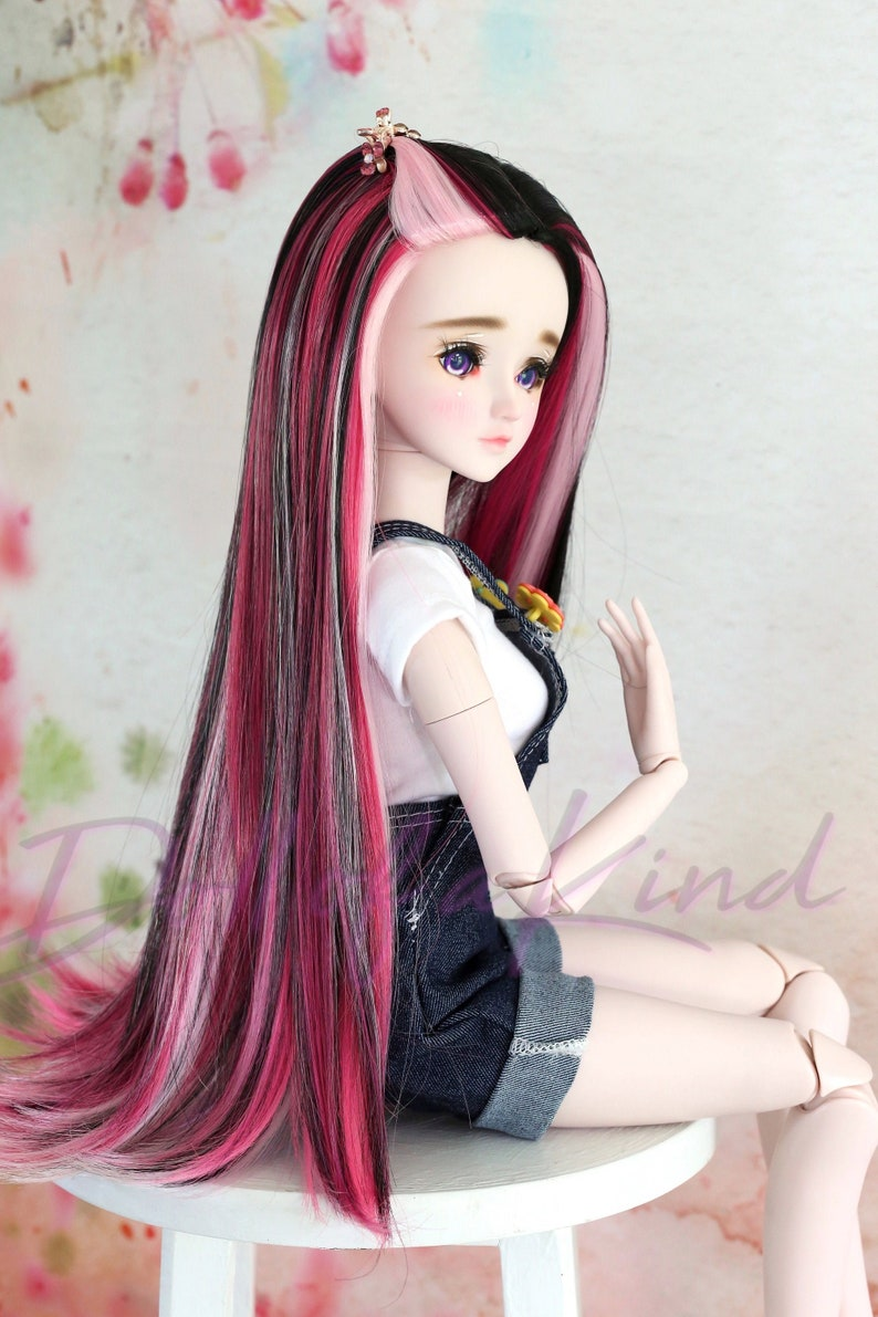 Heart 4 Heart Pure Black wig for  Wellie Wisher Paola Reina BJD doll