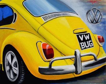 VW beetle Giclee art print.