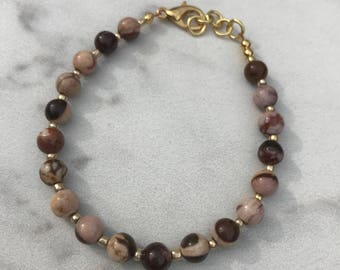 Earth tone and gold bracelet