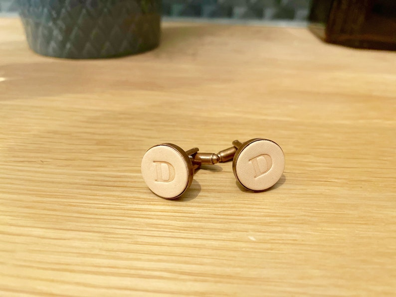 Gift for boyfriend  Natural Antique Copper Leather cufflinks personalised gift for him Leather 3rd Anniversary Gift Gift for Dad