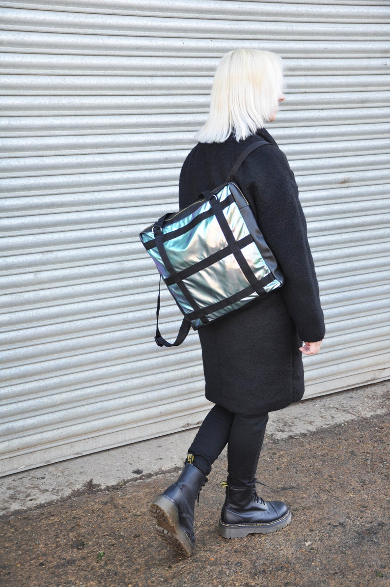 vegan leather minimal festival skater rucksack HOLOGRAPHIC SQUARE BACKPACK school streetwear bag grunge iridescent